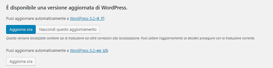 Aggiornamento Wordpress 5.2 disponibile